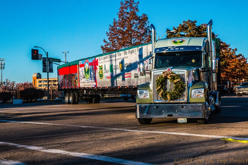 The Kenworth W990 transporting the tree features a distinctive graphics package with a brightly...