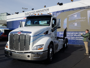 Peterbilt's Model 579EV features a mid-ship motor rated for 240 kW continuous output with peak...