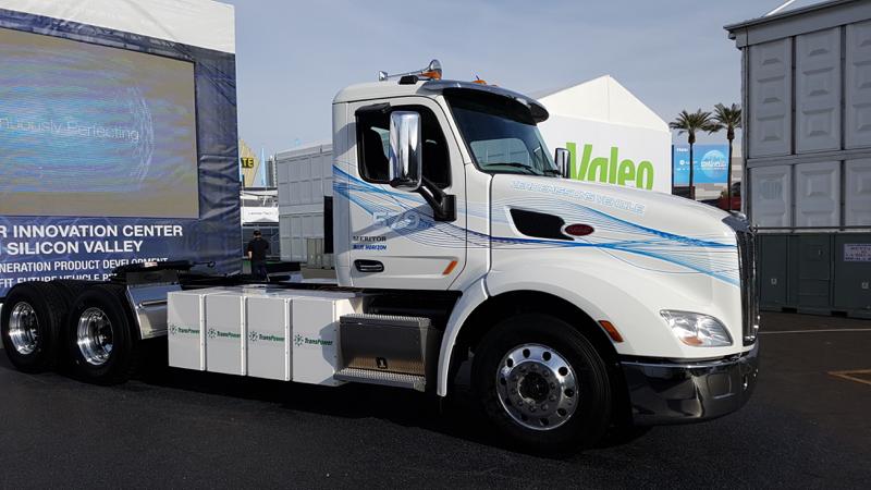 Peterbilt's Model 579EV is powered by lithium nickel manganese cobalt batteries with 320 kWh...