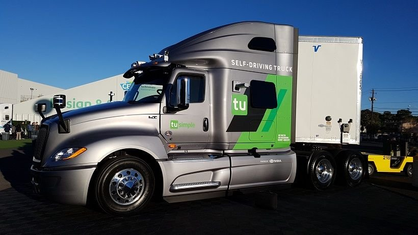Startup autonomous vehicle developer TuSimple had one of its test fleet trucks on display at...