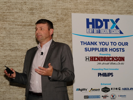 Jeff Sass, Hendrickson's vice president of marketing, highlighted the idea that trucking will...