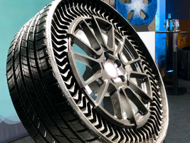 "The big product news was Michelin's rollout of its Uptis ""tweel"" (unified tire + wheel)..."