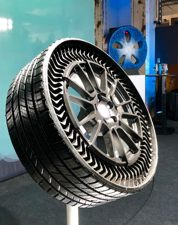 """The big product news was Michelin's rollout of its Uptis """"tweel"""" (unified tire + wheel)..."""
