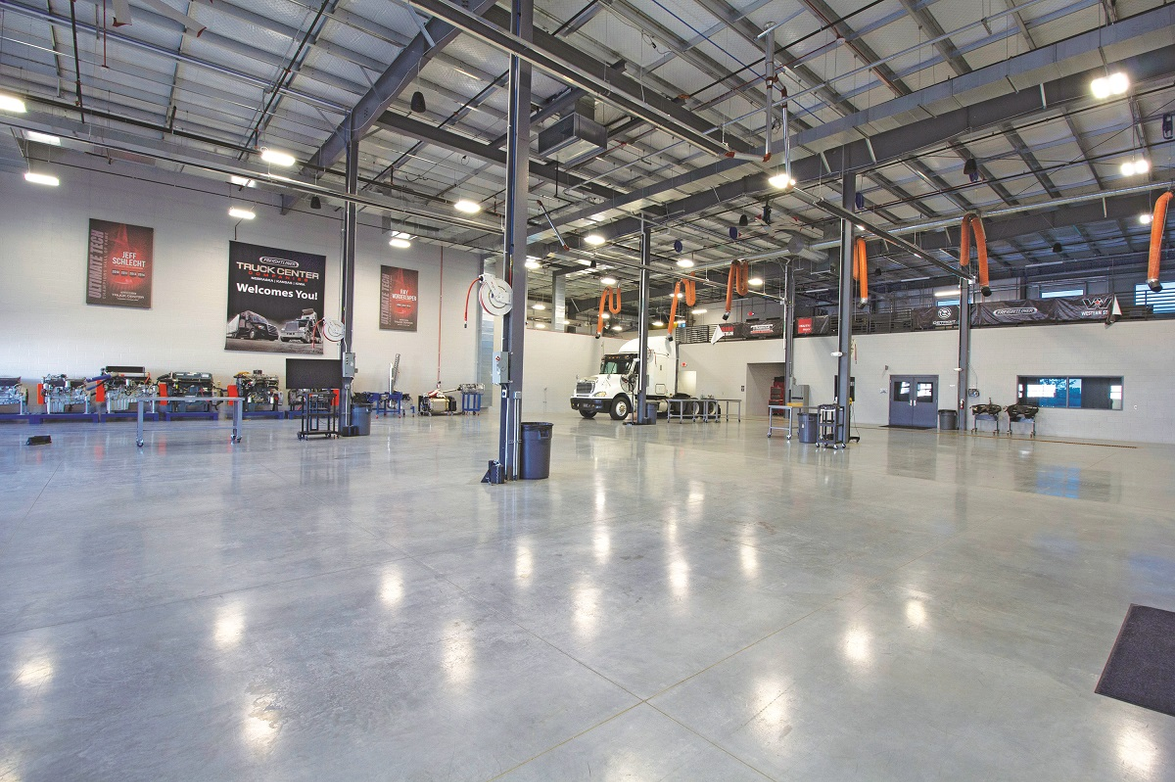 The training center at Truck Center Companies features six service bays and three classrooms.