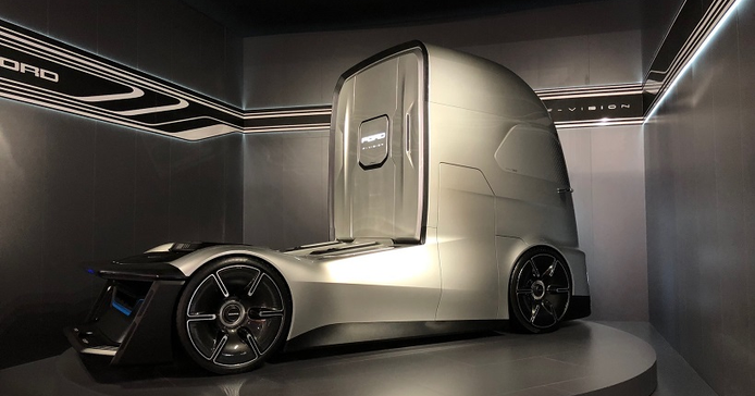 Ford still makes Class 8 tractors in Europe and is showing this fully autonomous concept truck...