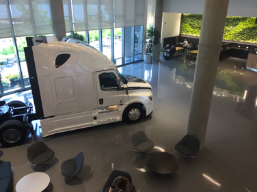 The lobby of DTNA's headquarters welcomes visitors with lots of natural light.