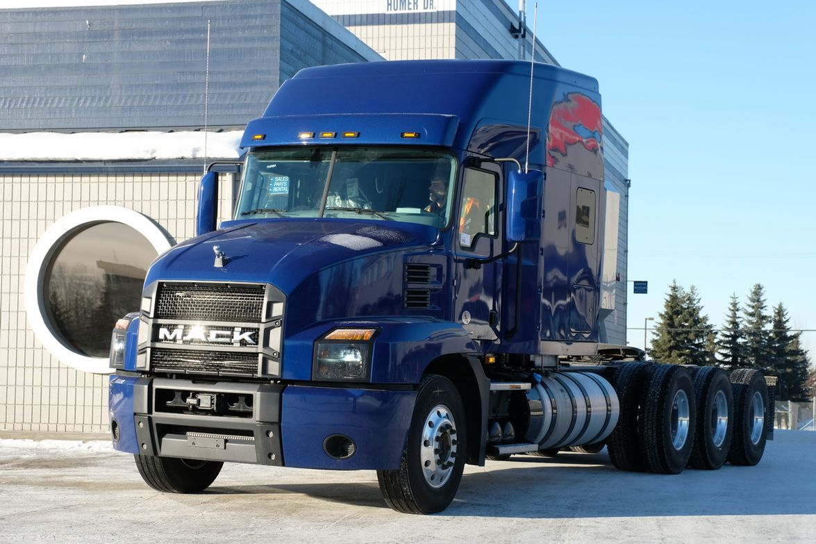 Mack also just delivered its first Anthem tractor to the state of Alaska. It's a tri-drive with...