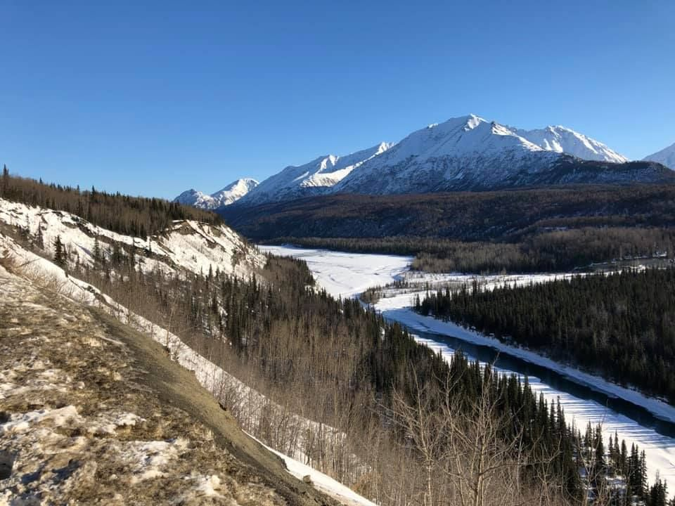 The view from a highway rest stop traveling from Anchorage to Valdez.