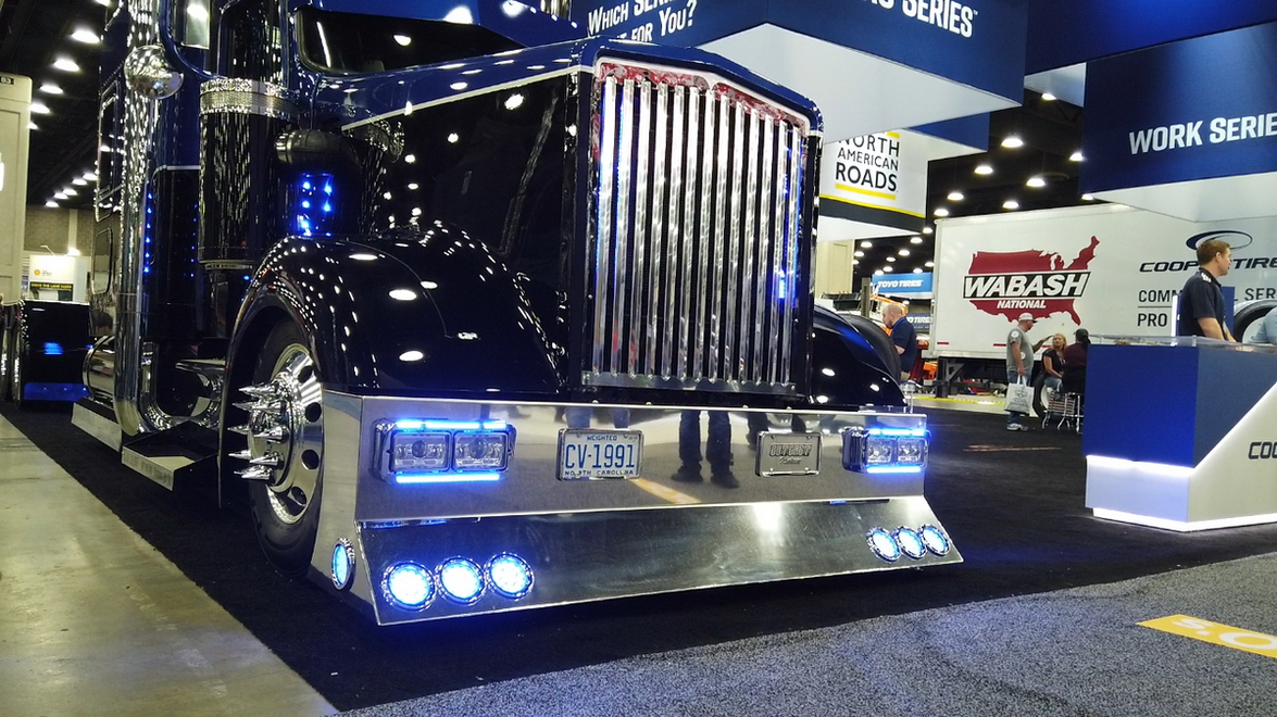 "Cooper Tires had this cool-looking Kenworth W900 on display. Love that ""cow-catcher"" bumper."