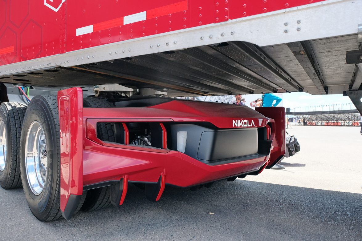 This truck was on display at Nikola World 2019. The fender includes kick panels to help with the...