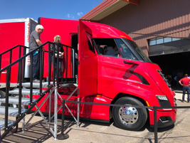 Side view of the Nikola Two cab. Notice the placement of the door; it is aft of the driver's...