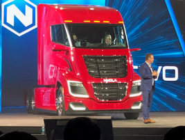 The NikolaTwo introduced at Nikola World was painted red to honor the company's 800-truck order...