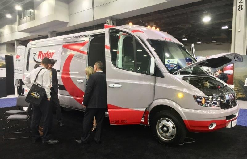 Ryder showed off this Chanje battery-electric cargo van, which it has begun offering to rental...
