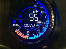 Chanje instrumentation includes this range indicator that counts down the expected miles until...