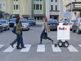 The FedEx Same Day Bot is a six-wheeled device has a top speed of 10 mph and can carry about 100...