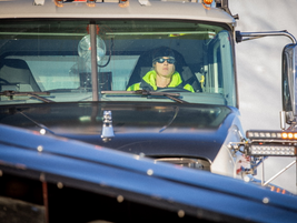 Moana Bradshaw at the wheel of the DOT's newest Mack Granite snowplow.