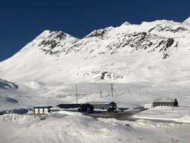 The Alaska DOT maintenance shed at Thompson Pass is nestled in a valley a few hundred yards off...