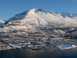 The town of Valdez, as seen from the air. A former Gold Rush town, Valdez is located at the head...
