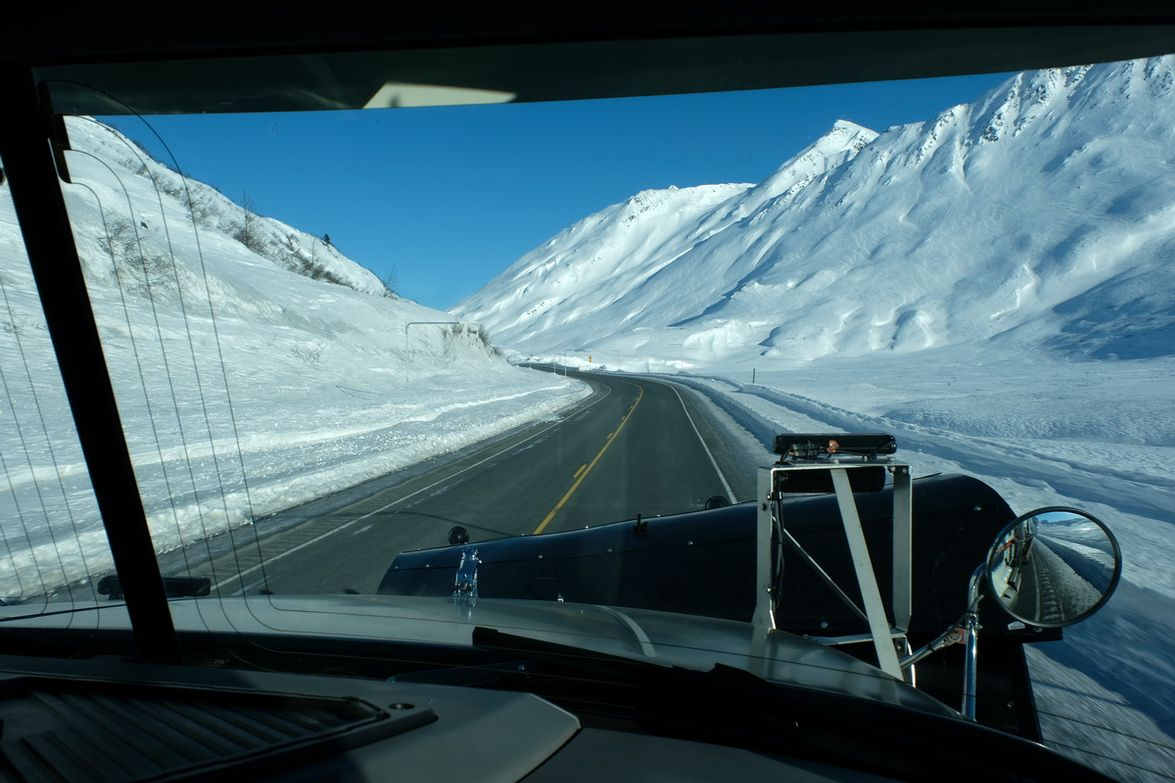The view from the right-hand seat. The driver's view of the right-front side of the truck is...