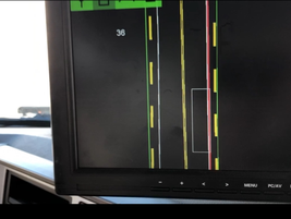 This is the display the driver sees from the GPS devices. The white box represents the truck....