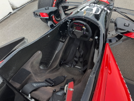 The cockpit of one of the Honda Indy cars used to take joy riders for a lap around the Toronto...