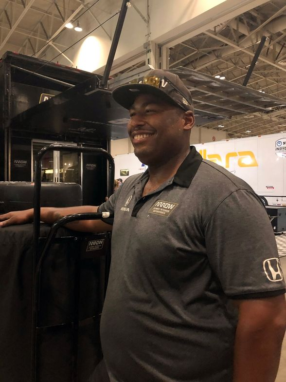Timothy Lane of Indianapolis is one of the hauler truck drivers for the Arrow Schmidt Peterson...