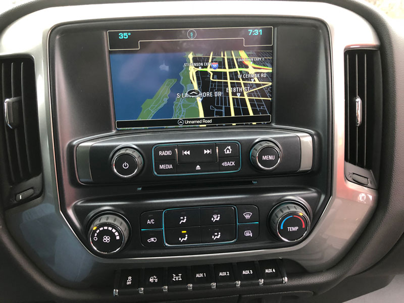 A throughly modern infotainment system dominates the CV's center dash section.