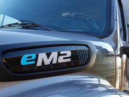 Daimler had two eM2 trucks at the event in Las Vegas. This one was the customer demo truck. The...