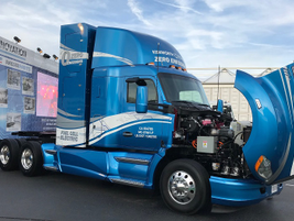 The Kenworth truck uses two Toyota Mirai fuel cell stacks and a battery generating enough energy...