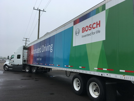 "From the ""future technologies"" file, I got to drive a truck equipped with Bosch's new electric..."