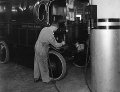 In Los Angeles back in 1936, a UPS electric truck being plugged in.