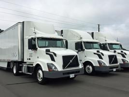 The three platooning test trucks ready to go in North Carolina.