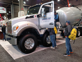 Kenworth is showing a twin-steer T880, an 8x4 chassis which takes advantage of weight...