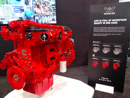 Display version of Cummins' lightweight X12 diesel was in Western Star's booth. Western Star and...