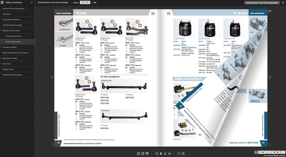 Hendrickson Launches Digital Parts Catalog