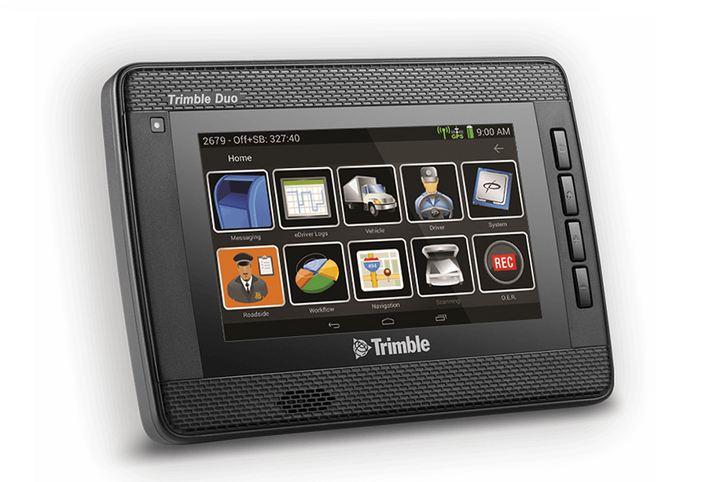 The Trimble Duo is an Android-powered device that combines an in-cab display with 4G-LTE connectivity to offer fleets an all-in-one solution for fleet mobility. - Photo: Trimble