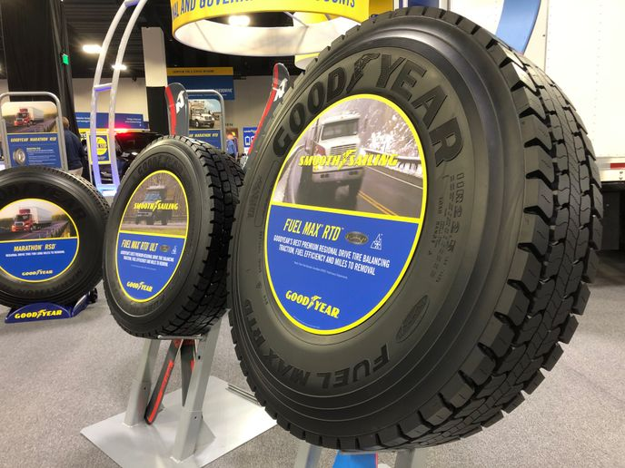 Gooyear said ideal applications for the Fuel Max RTD tire include straight trucks, day cabs, box trucks, heavy duty pickups, utility vehicles and any regional truck that requires extra traction in all weather conditions. - Photo: Jim Park