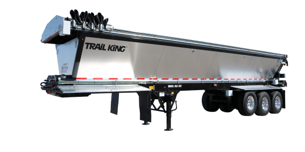 The trailer's aerodynamic design features smooth side panels in aluminum or steel, providing...