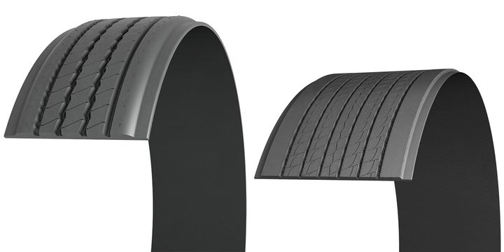 The Michelin X Multi T-SA pre-mold retread (left) is designed for regional and super-regional operations, and the Michelin X ONE Line Energy T2 pre-mold retread is designed for the line-haul market. - Photo: Michelin