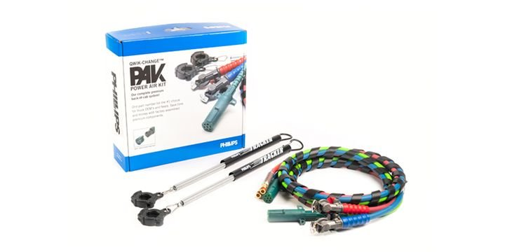 Phillips Industries'Qwik-Change PAKcombines Phillips premium spiral-wrapped three-in-one electrical and air combination assemblies with quick-change plugs, service and emergency factory-installedanodized gladhands, and twoQwik-Change heavy-duty tracker spring kits with Qwik-Clamp. - Photo:Phillips Industries