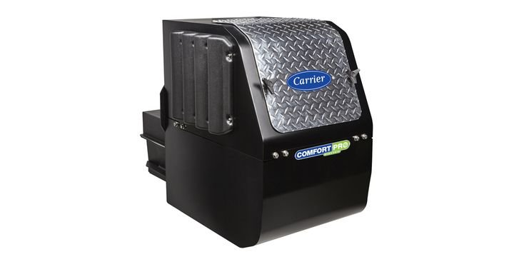 The capabilities of Carrier Transicold's ComfortPro electric auxiliary power unit are made possible by its extended-capacity lithium-ion batteries and proprietary embedded power management system. - Photo: Carrier Transicold