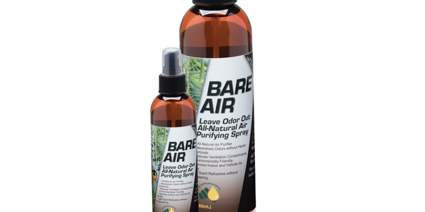 E-Zoil's Bare Air is an air spray that uses pharmaceutical grade tea tree oil to disperse odors...