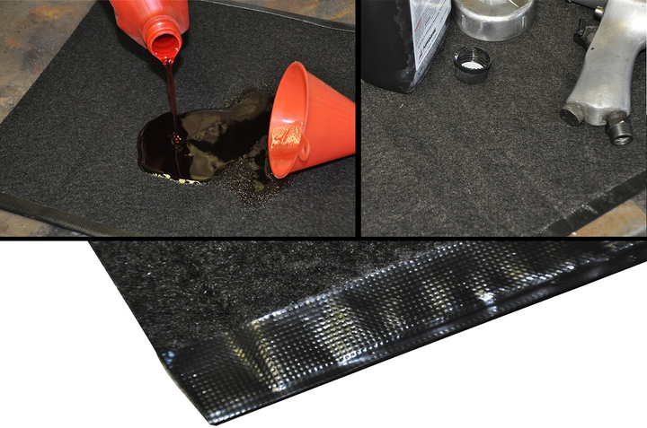 The Oil Rug absorbs oil spills to keep a work space clean and safe.