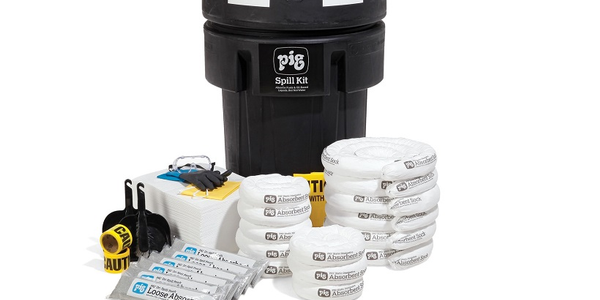The Pig Spill Kit in Overpack is designed to help clean up fuel spills.