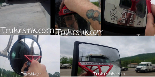 The Trukr Stik is a two-ended squeegee designed for truck mirrors.