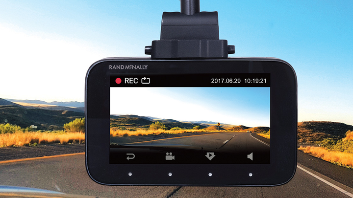 The DashCam 500 records video and photos and connects to a companion app for smartphones.  - Photo courtesy Rand McNally