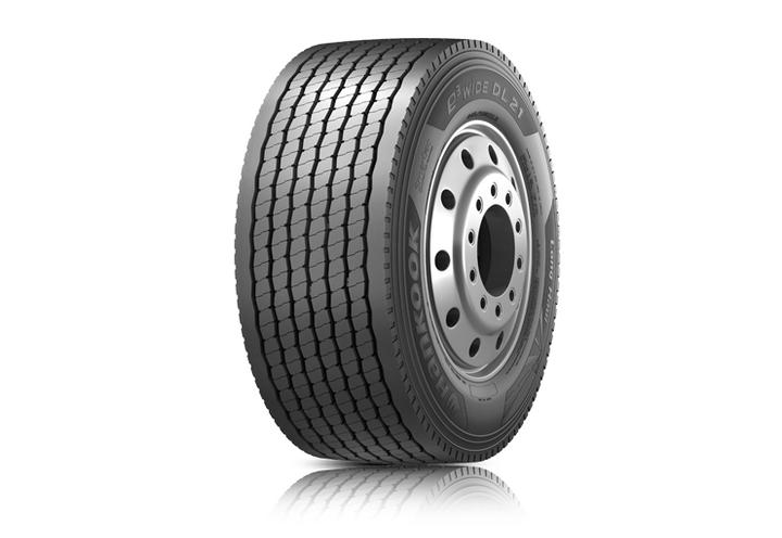 Hankook Tire's e3 WiDE DL21 is the company's latest ultra-super single drive tire.  - Photo courtesy Hankook Tire