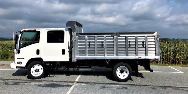 The all-aluminum EBY Flex landscaping body features durable, lightweight side and rear panels...