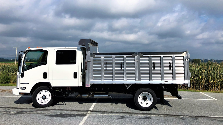 The all-aluminum EBY Flex landscaping body features durable, lightweight side and rear panels that can be removed to convert it into a flatbed.