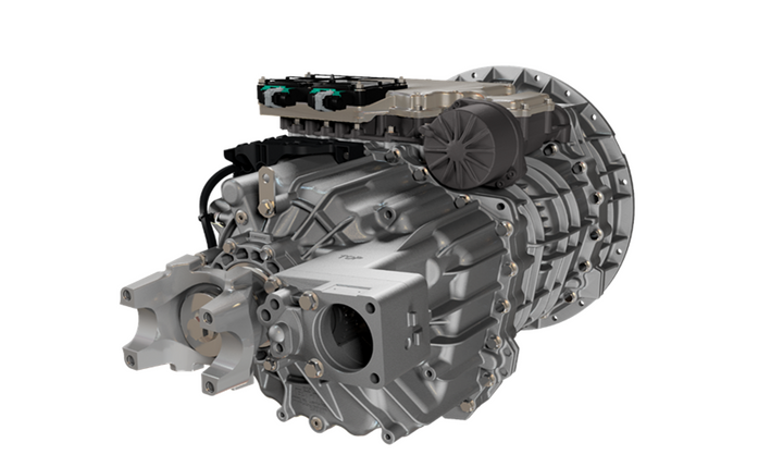 The Endurant automated transmission withdual PTO provides customers with two PTO mounting locations: an 8-bolt bottom mount and a 4-bolt rear mount with a combined 95 horsepower capability.  - Photo courtesy Eaton Cummins